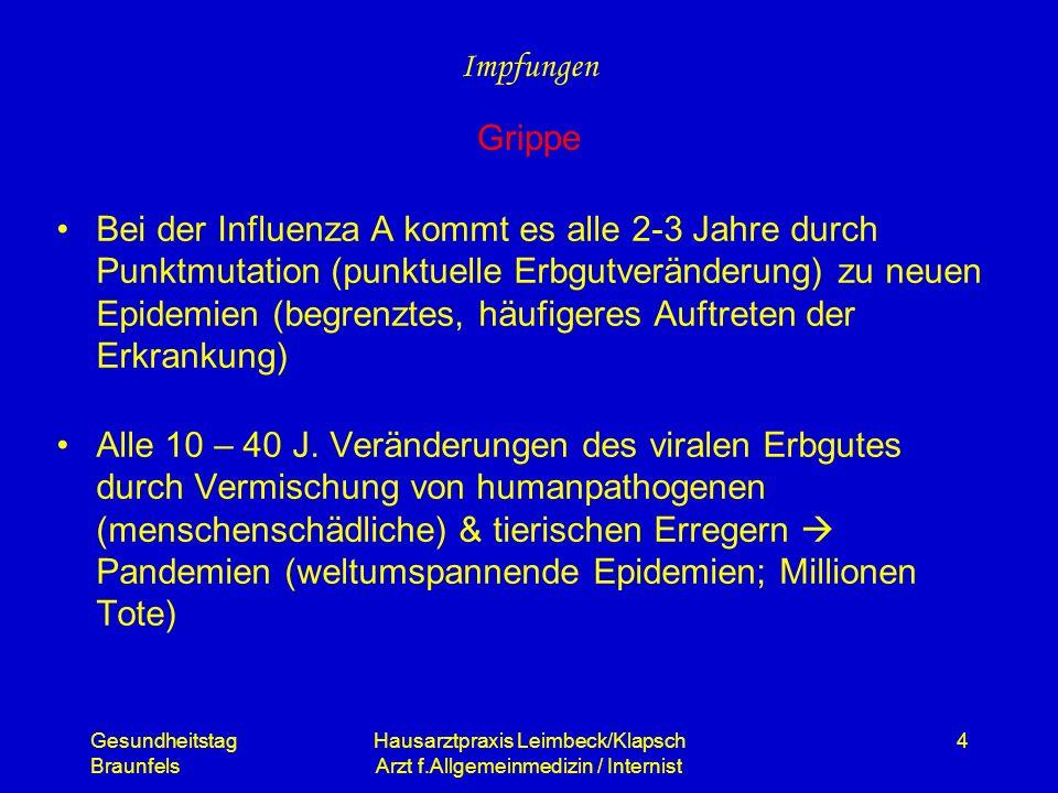 Gesundheitstag Braunfels Hausarztpraxis Leimbeck/Klapsch Arzt f.Allgemeinmedizin / Internist 4 Bei der Influenza A kommt es alle 2-3 Jahre durch Punkt