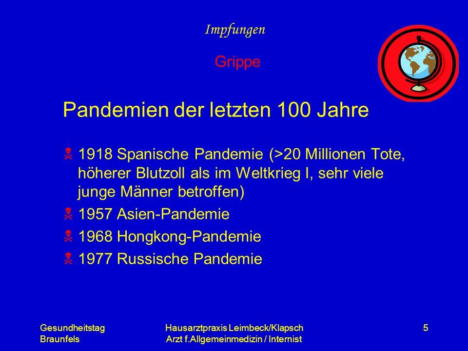 Gesundheitstag Braunfels Hausarztpraxis Leimbeck/Klapsch Arzt f.Allgemeinmedizin / Internist 5 Pandemien der letzten 100 Jahre 1918 Spanische Pandemie