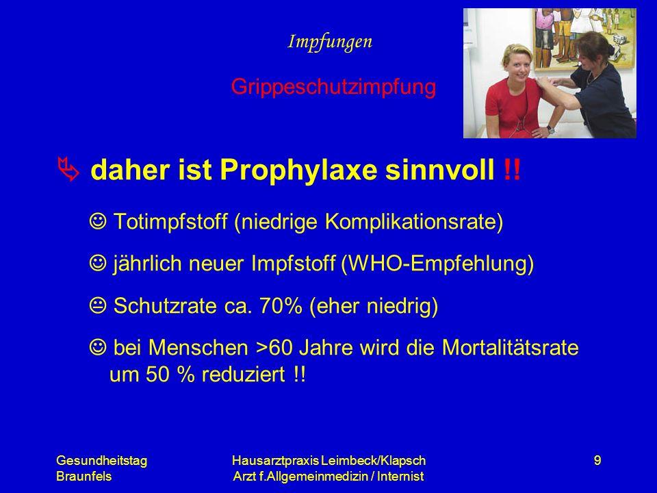 Gesundheitstag Braunfels Hausarztpraxis Leimbeck/Klapsch Arzt f.Allgemeinmedizin / Internist 9 daher ist Prophylaxe sinnvoll !! Totimpfstoff (niedrige