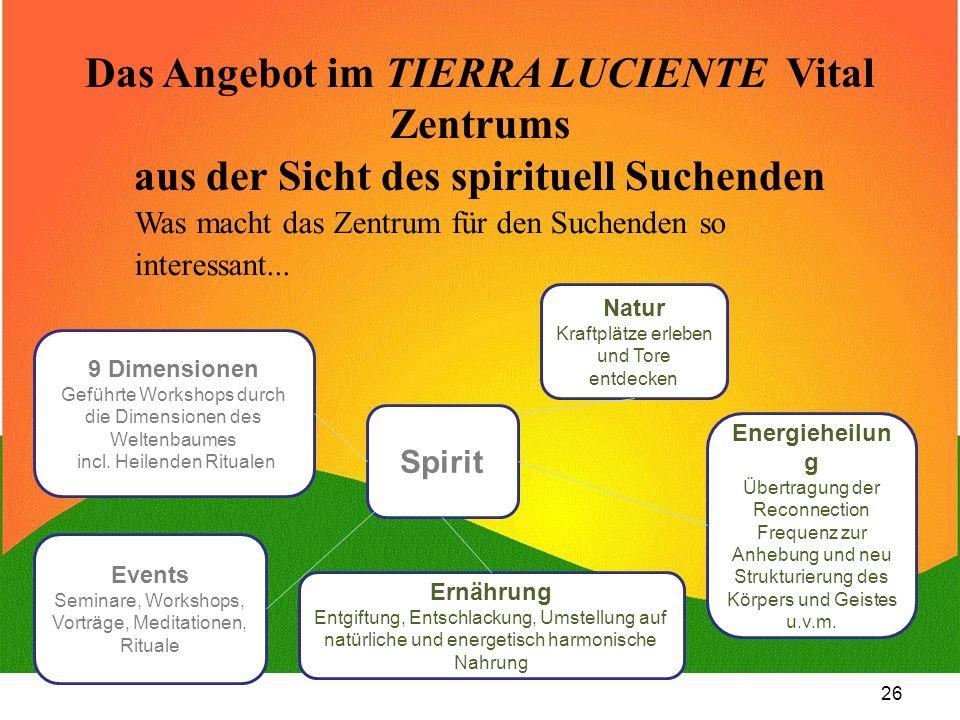 26 Das Angebot im TIERRA LUCIENTE Vital Zentrums aus der Sicht des spirituell Suchenden Was macht das Zentrum für den Suchenden so interessant... Spir