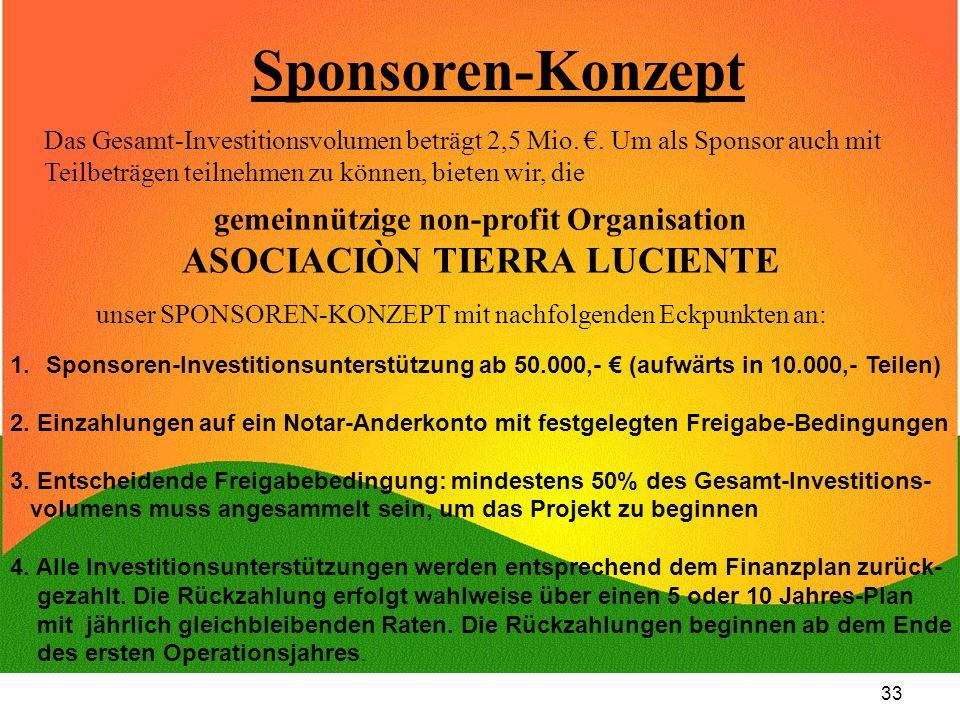 33 Sponsoren-Konzept Das Gesamt-Investitionsvolumen beträgt 2,5 Mio.. Um als Sponsor auch mit Teilbeträgen teilnehmen zu können, bieten wir, die gemei
