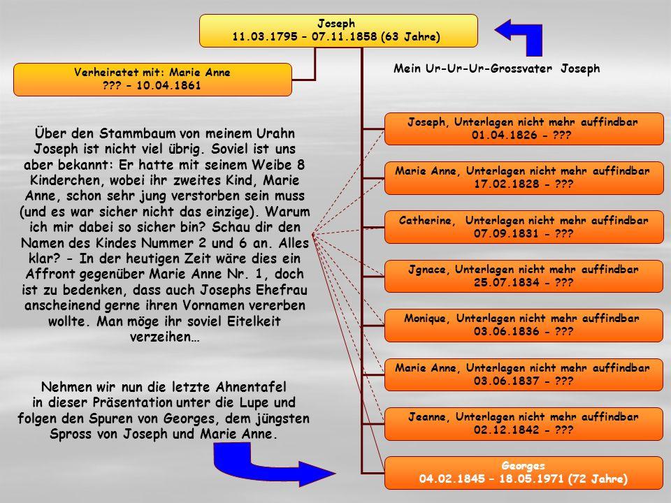 Georges 04.02.1845 – 18.05.1917 (72 Jahre) Josephine 04.02.1874 – 19.01.1916 (42 Jahre) Marie 05.05.1876 – 07.03.1943 (67 Jahre) Marie Madeleine 22.07.1879 – 28.03.1941 (62 Jahre) Verheiratet (1871) mit: Jospehine 23.02.1845 – 19.01.1916 (71 Jahre) Serge, Unterlagen nicht mehr auffindbar 27.07.1869 - ??.