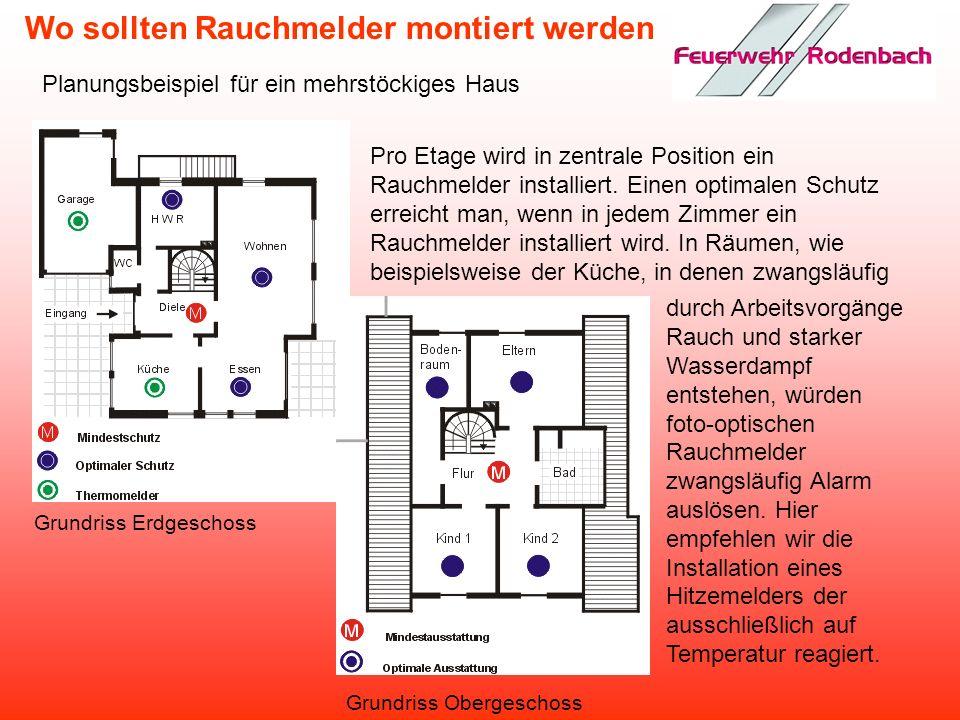 Wo sollten Rauchmelder montiert werden Planungsbeispiel für eine 3-Zimmer-Wohnung In Räumen, wie beispielsweise der Küche, in denen zwangsläufig durch