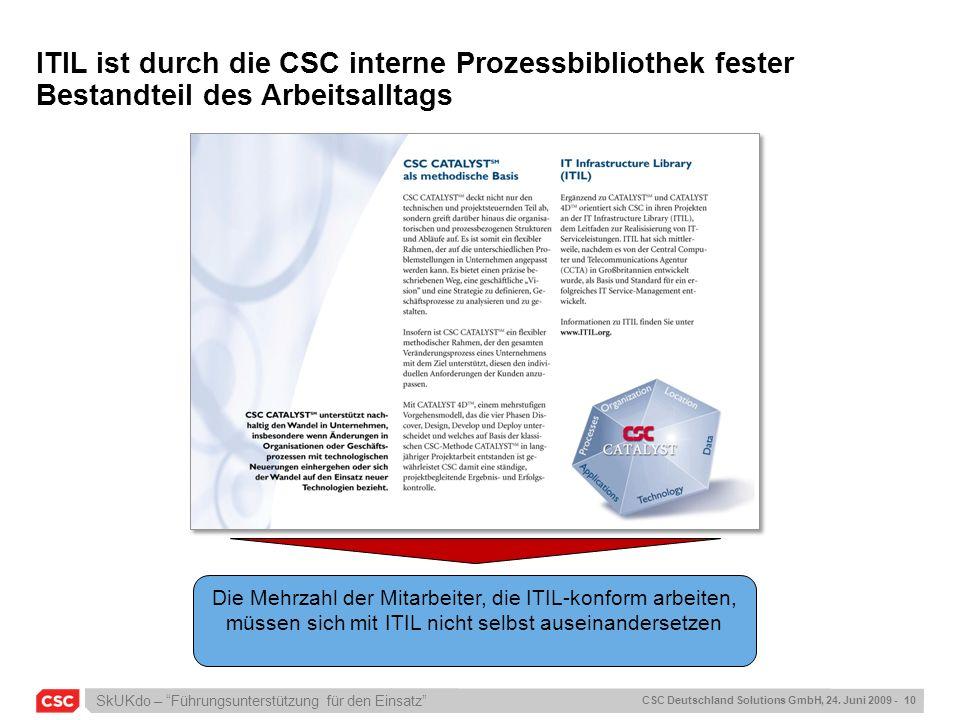 SkUKdo – Führungsunterstützung für den Einsatz CSC Deutschland Solutions GmbH, 24. Juni 2009 - 10 ITIL ist durch die CSC interne Prozessbibliothek fes