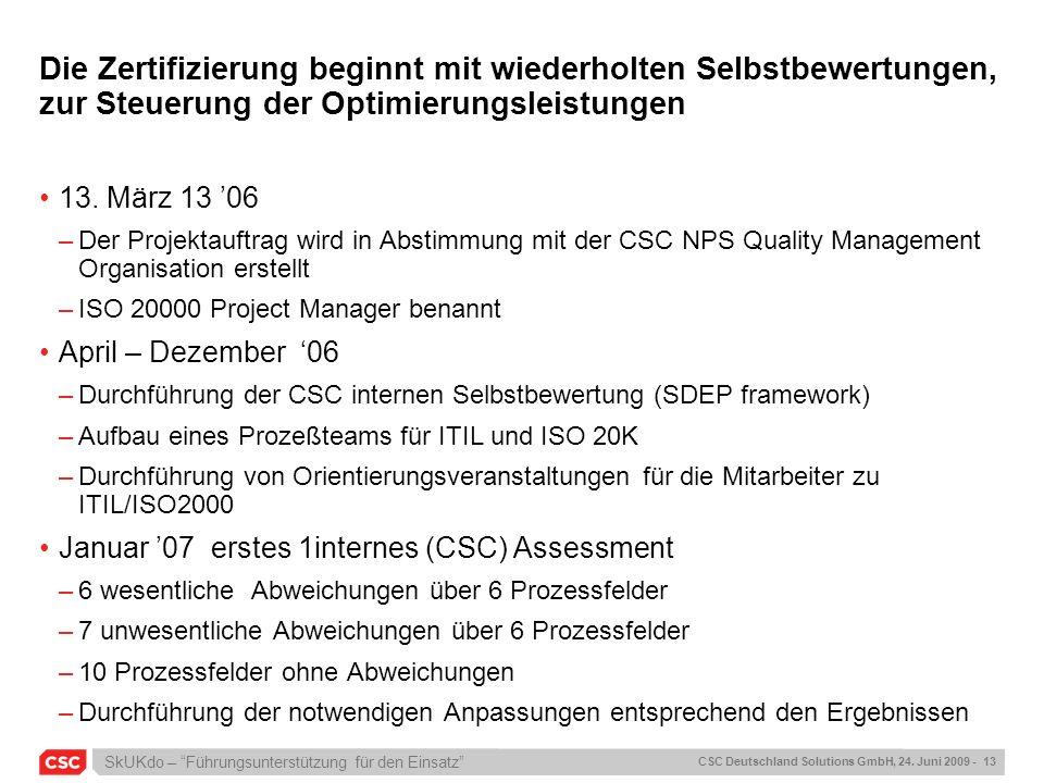 SkUKdo – Führungsunterstützung für den Einsatz CSC Deutschland Solutions GmbH, 24. Juni 2009 - 13 Die Zertifizierung beginnt mit wiederholten Selbstbe
