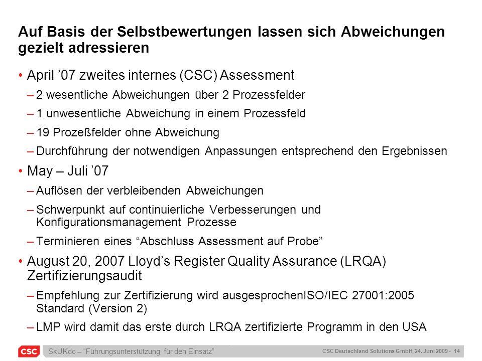 SkUKdo – Führungsunterstützung für den Einsatz CSC Deutschland Solutions GmbH, 24. Juni 2009 - 14 Auf Basis der Selbstbewertungen lassen sich Abweichu