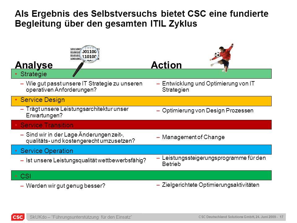 SkUKdo – Führungsunterstützung für den Einsatz CSC Deutschland Solutions GmbH, 24. Juni 2009 - 17 Als Ergebnis des Selbstversuchs bietet CSC eine fund