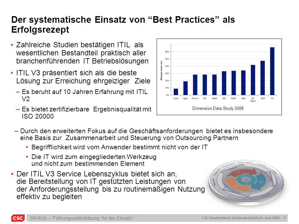 SkUKdo – Führungsunterstützung für den Einsatz CSC Deutschland Solutions GmbH, 24. Juni 2009 - 4 Der systematische Einsatz von Best Practices als Erfo