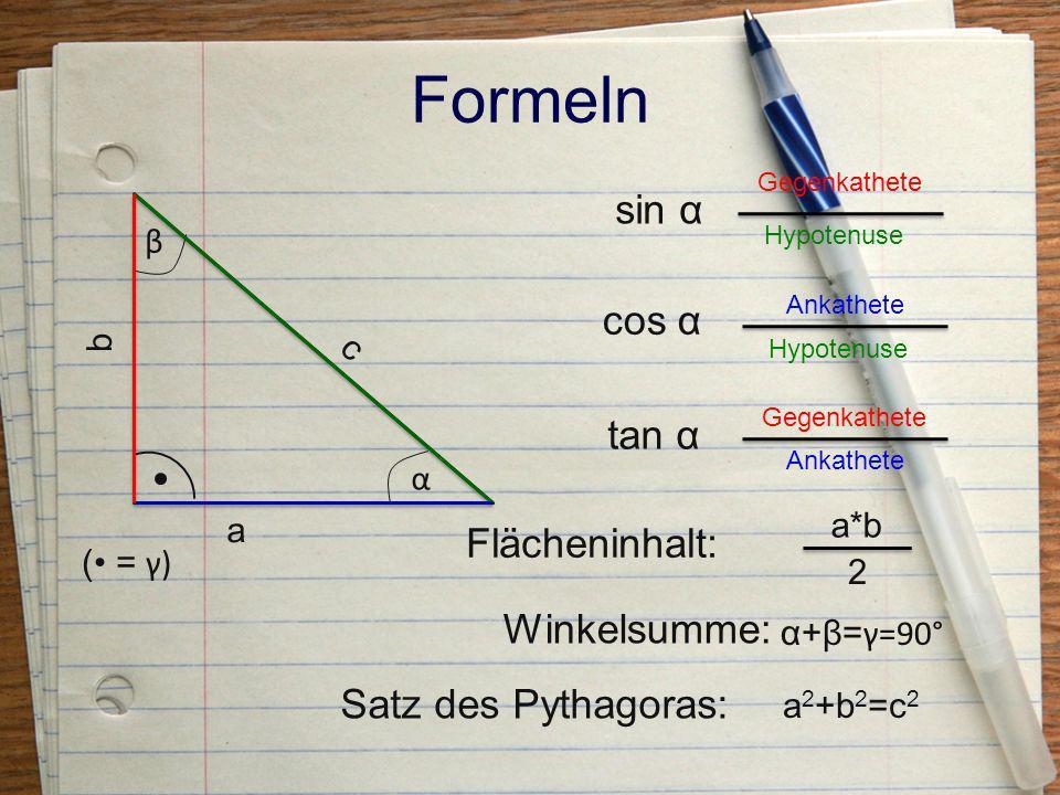 Beispiel gegeben ist a = 40 cm b = 35 cm gesucht ist c = ? α = ? β = ? A =?