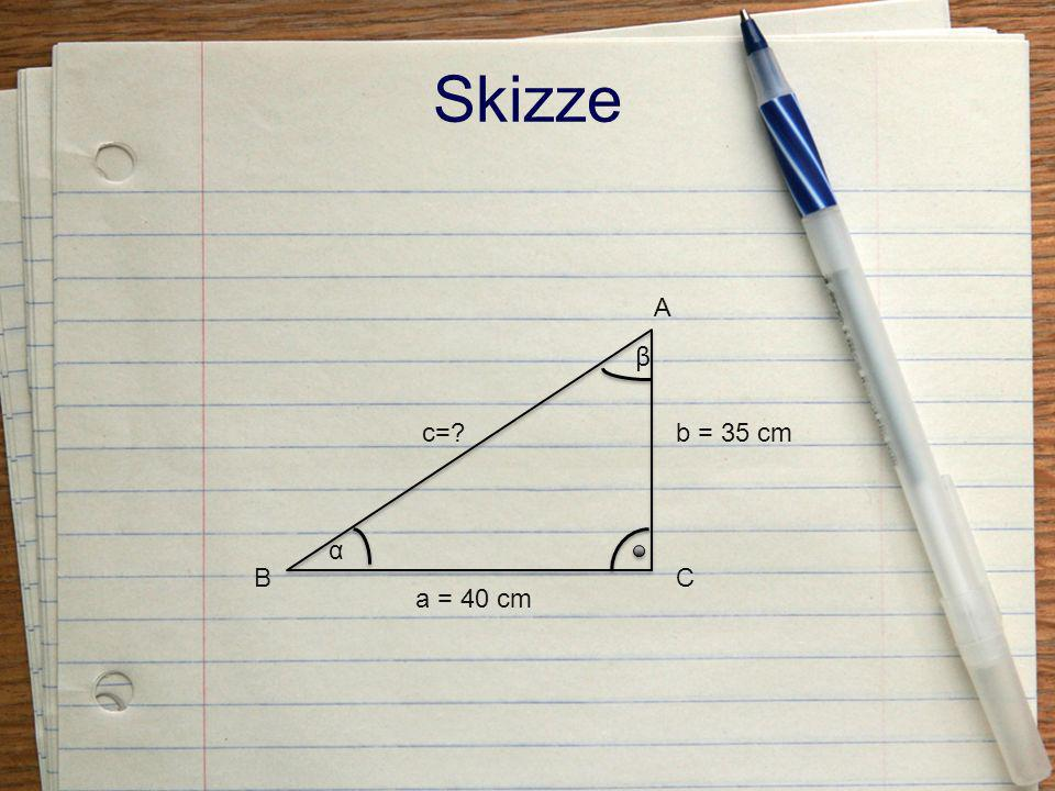 Beispiel II gegeben ist im gleichschenkeligen Dreieck a = 10,9cm A = 54,6cm 2 gesucht ist c=.