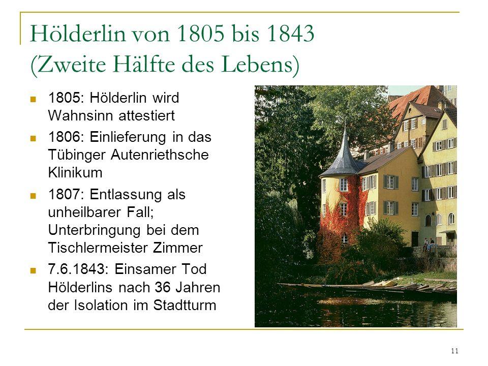 11 Hölderlin von 1805 bis 1843 (Zweite Hälfte des Lebens) 1805: Hölderlin wird Wahnsinn attestiert 1806: Einlieferung in das Tübinger Autenriethsche K