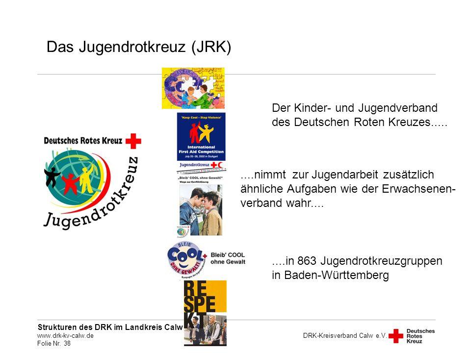Strukturen des DRK im Landkreis Calw www.drk-kv-calw.de Folie Nr. 38 DRK-Kreisverband Calw e.V. Der Kinder- und Jugendverband des Deutschen Roten Kreu