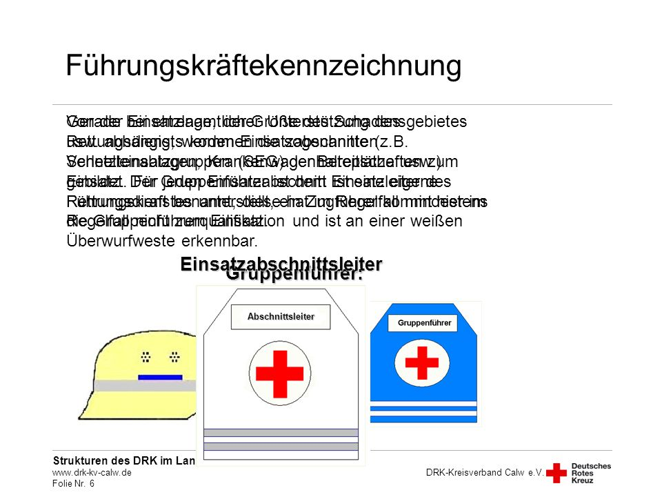 Strukturen des DRK im Landkreis Calw www.drk-kv-calw.de Folie Nr. 6 DRK-Kreisverband Calw e.V. Führungskräftekennzeichnung Gerade bei ehrenamtlicher U