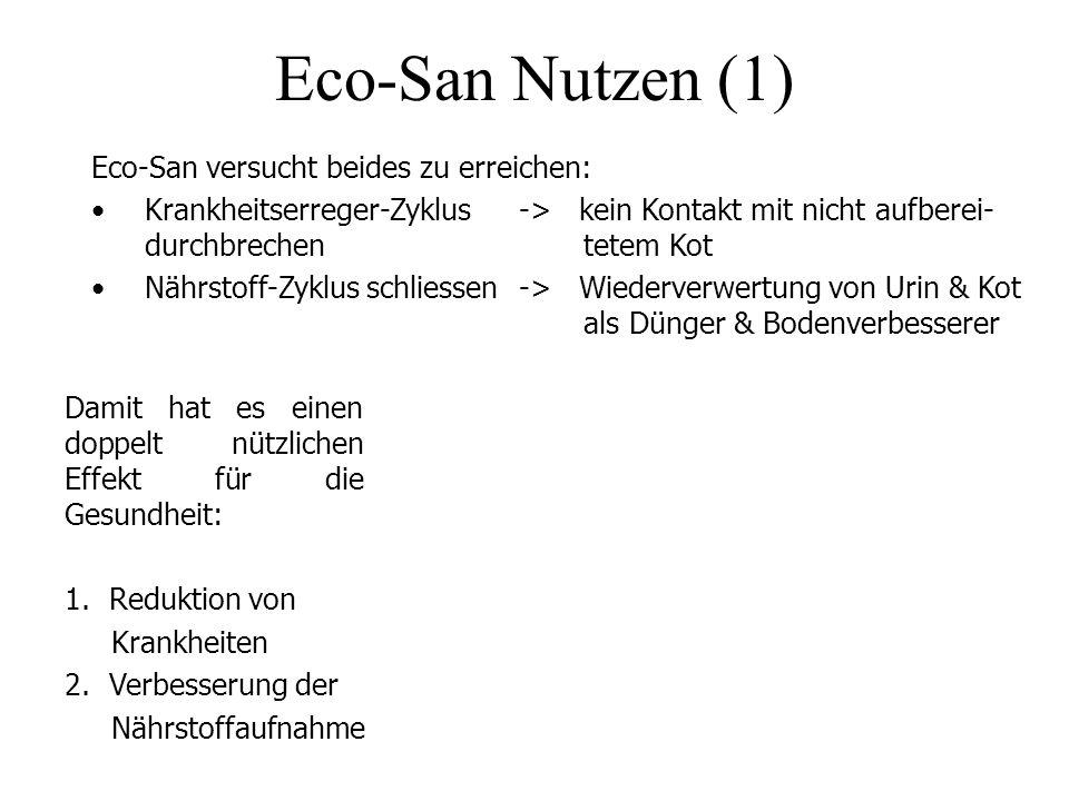 Eco-San Nutzen (1) Eco-San versucht beides zu erreichen: Krankheitserreger-Zyklus -> kein Kontakt mit nicht aufberei- durchbrechen tetem Kot Nährstoff