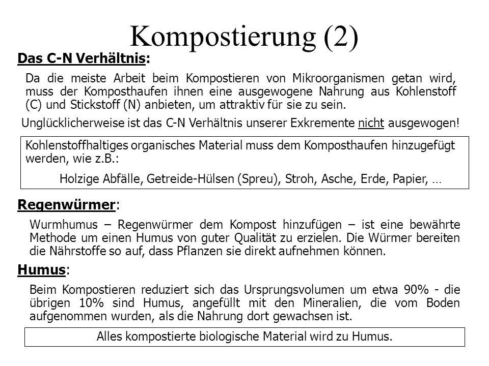 Kompostierung (2) Das C-N Verhältnis: Da die meiste Arbeit beim Kompostieren von Mikroorganismen getan wird, muss der Komposthaufen ihnen eine ausgewo