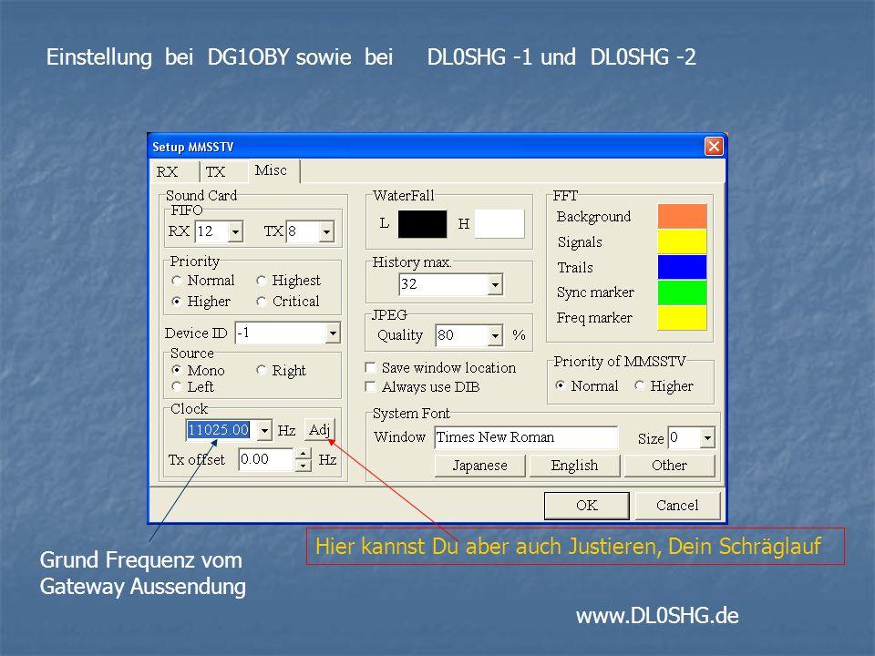 Grund Frequenz vom Gateway Aussendung Einstellung bei DG1OBY sowie bei DL0SHG -1 und DL0SHG -2 www.DL0SHG.de Hier kannst Du aber auch Justieren, Dein