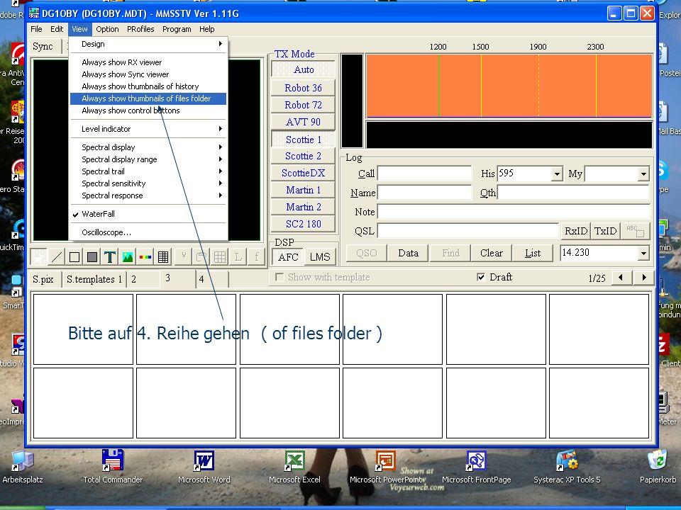 Bitte auf 4. Reihe gehen ( of files folder )