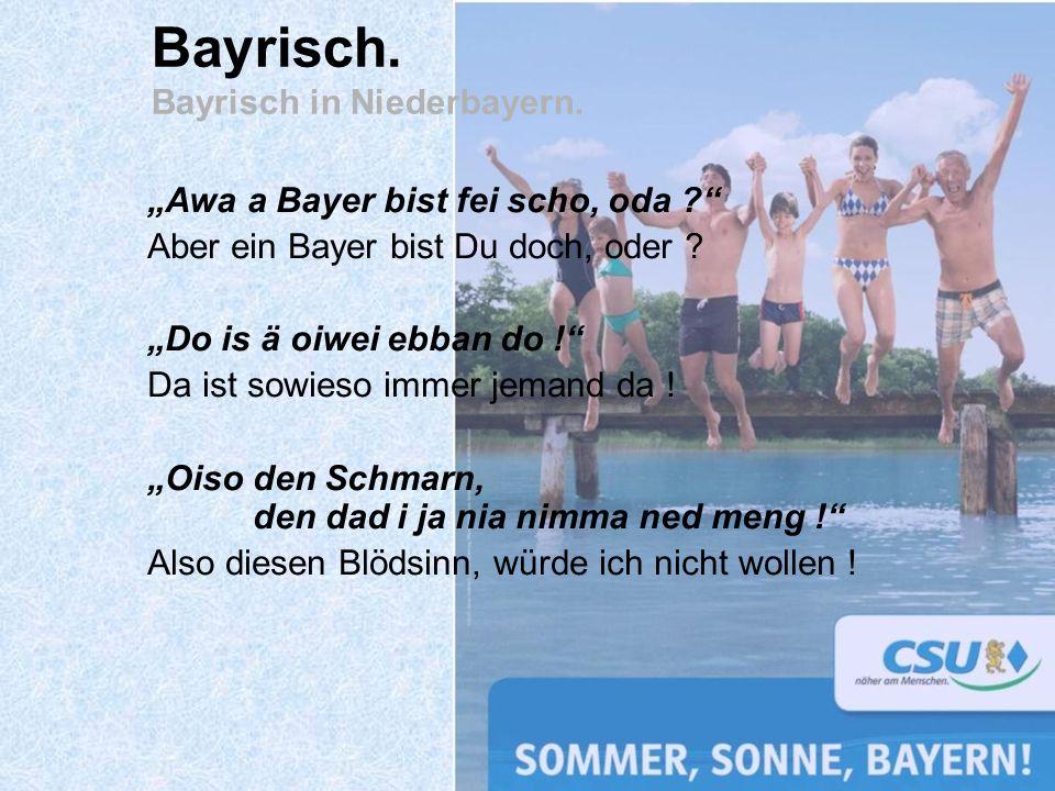 Awa a Bayer bist fei scho, oda ? Aber ein Bayer bist Du doch, oder ? Do is ä oiwei ebban do ! Da ist sowieso immer jemand da ! Oiso den Schmarn, den d