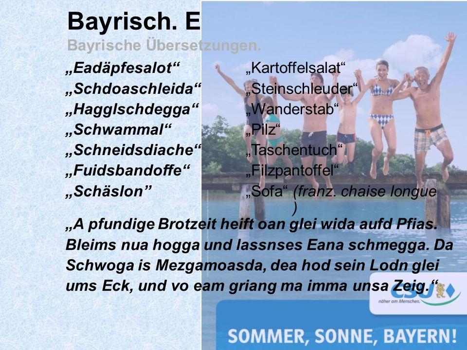 Bayrisch. E Bayrische Übersetzungen. Eadäpfesalot Schdoaschleida Hagglschdegga Schwammal Schneidsdiache Fuidsbandoffe Schäslon Kartoffelsalat Steinsch