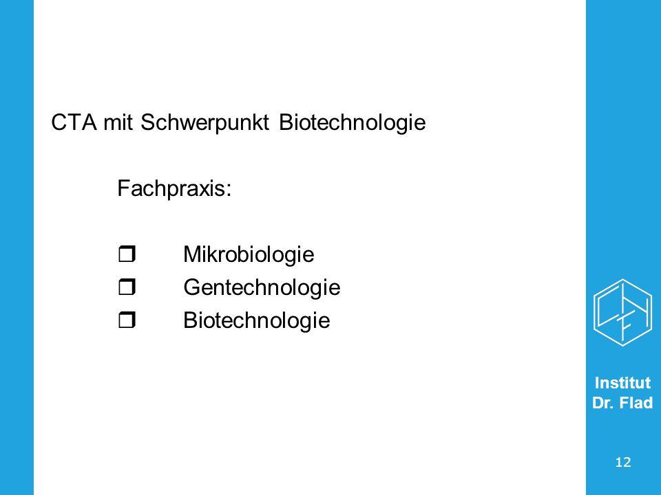 Institut Dr. Flad 12 CTA mit Schwerpunkt Biotechnologie Fachpraxis: Mikrobiologie Gentechnologie Biotechnologie