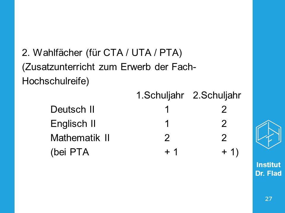 Institut Dr. Flad 27 2. Wahlfächer (für CTA / UTA / PTA) (Zusatzunterricht zum Erwerb der Fach- Hochschulreife) 1.Schuljahr2.Schuljahr Deutsch II12 En