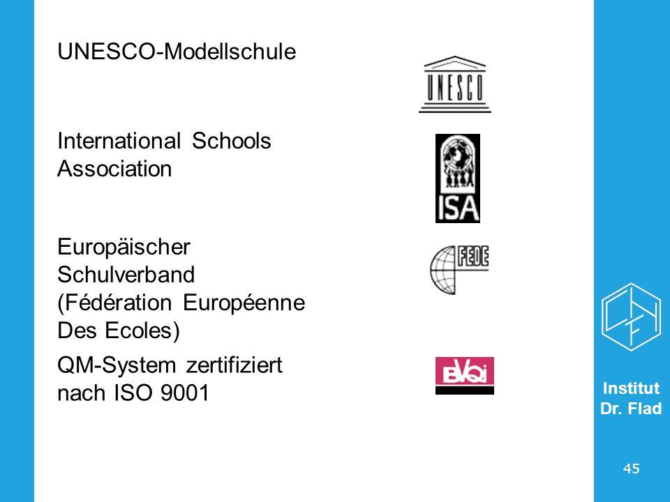 Institut Dr. Flad 45 UNESCO-Modellschule International Schools Association Europäischer Schulverband (Fédération Européenne Des Ecoles) QM-System zert