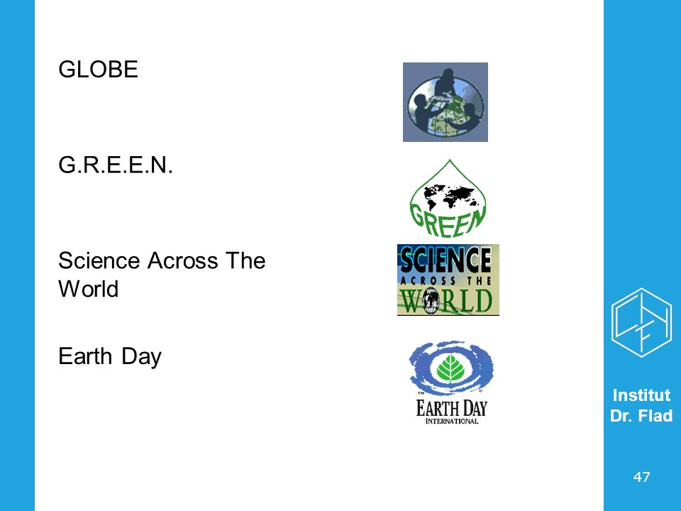 Institut Dr. Flad 47 GLOBE G.R.E.E.N. Science Across The World Earth Day