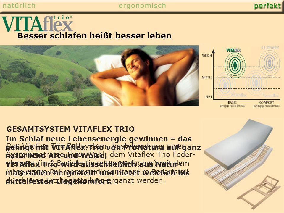 GESAMTSYSTEM VITAFLEX TRIO Das Vitaflex Trio Bettsystem, bestehend aus einer Systemmatratze Ihrer Wahl, dem Vitaflex Trio Feder- element (in 2 Basisfestigkeiten verfügbar) mit dem integiertem Rollrahmen; dieser kann im Bedarfsfall durch eine Sitzhochstellung ergänzt werden.