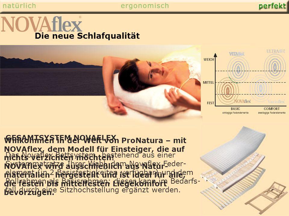 GESAMTSYSTEM NOVAFLEX Das Novaflex Bettsystem, bestehend aus einer Systemmatratze Ihrer Wahl, dem Novaflex Feder- element (in 2 Basisfestigkeiten verfügbar) und dem Rollrahmen als Basisrahmen; dieser kann im Bedarfs- fall durch eine Sitzhochstellung ergänzt werden.