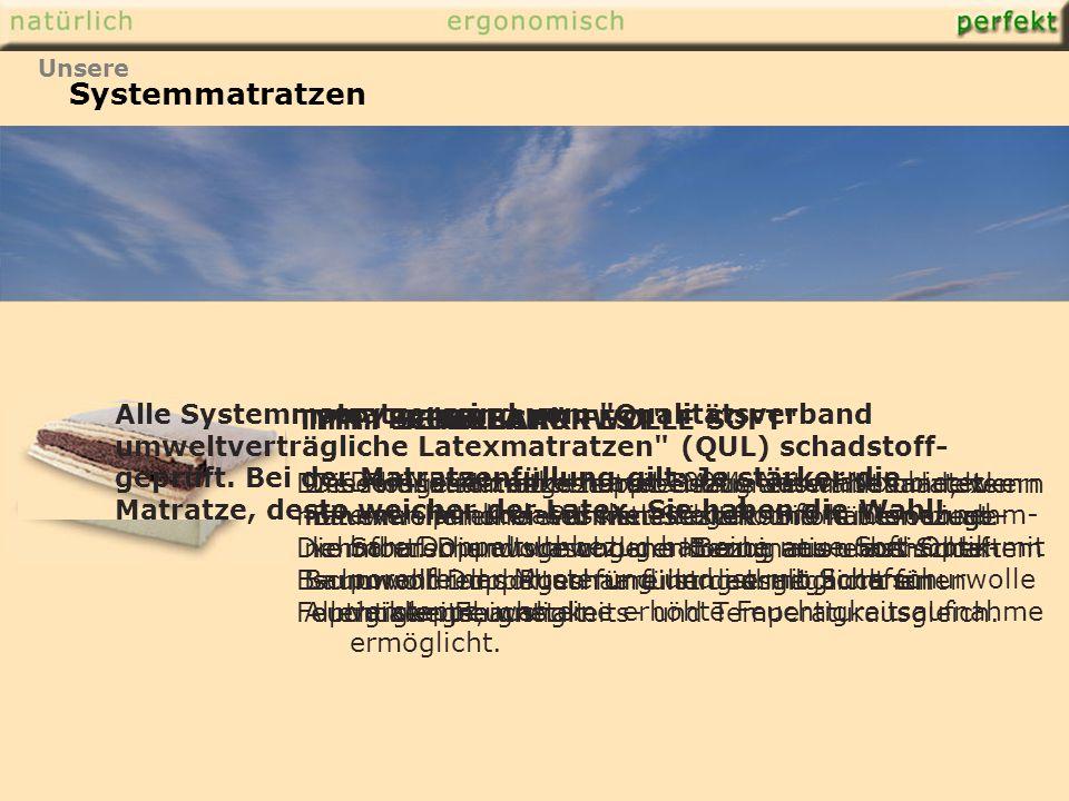 TYP: DREAM Der Matratzenkern aus 100%-Naturlatex bietet einen punktelastischen Liegekomfort.