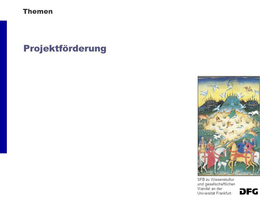 Themen Projektförderung SFB zu Wissenskultur und gesellschaftlichen Wandel an der Universität Frankfurt.