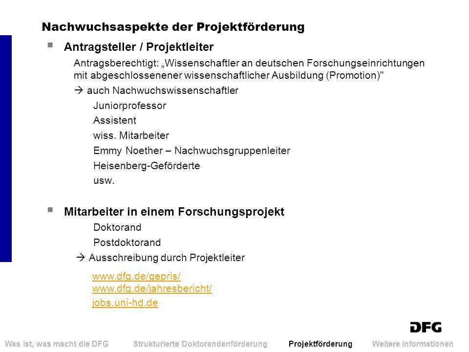 Nachwuchsaspekte der Projektförderung Antragsteller / Projektleiter Antragsberechtigt: Wissenschaftler an deutschen Forschungseinrichtungen mit abgesc