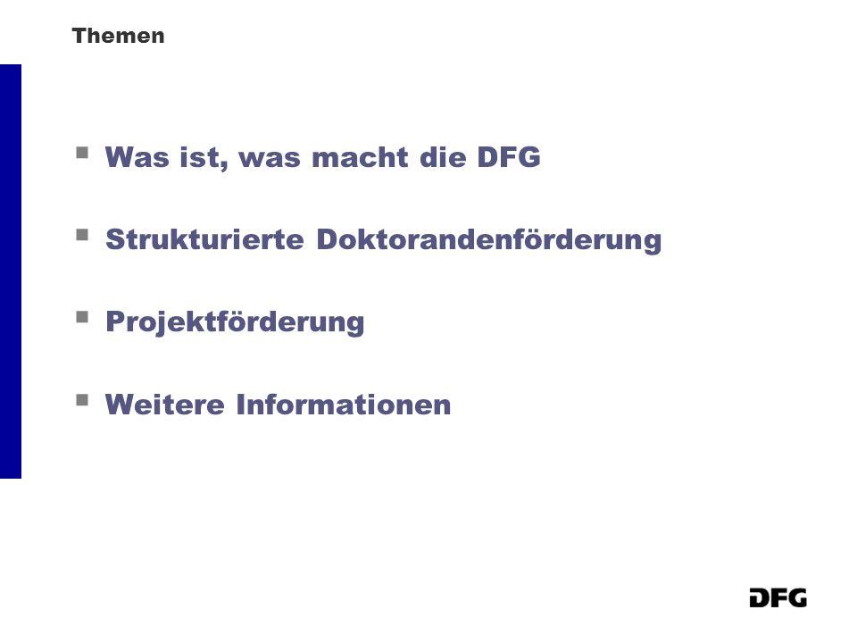 Themen Was ist, was macht die DFG Strukturierte Doktorandenförderung Projektförderung Weitere Informationen