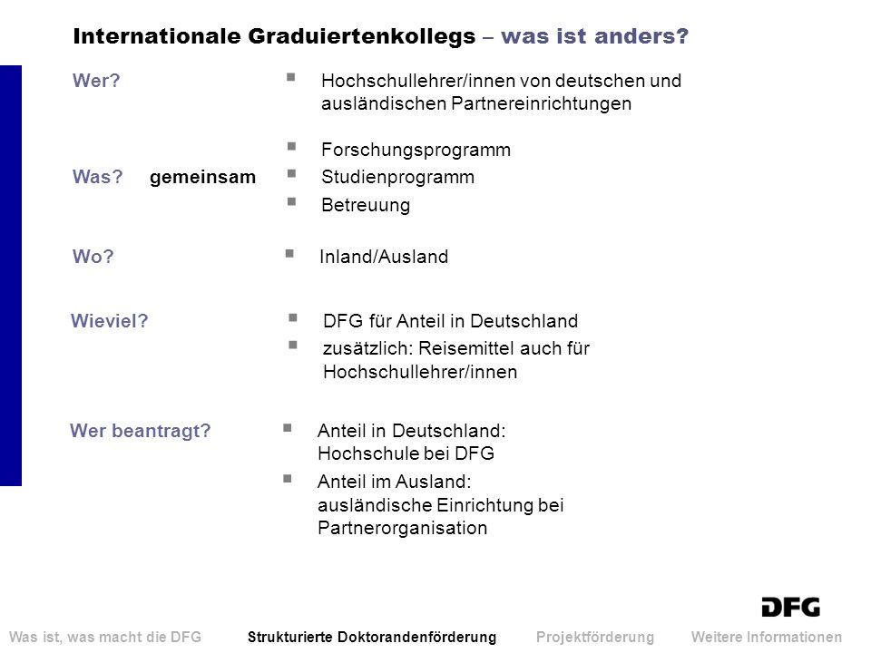 Internationale Graduiertenkollegs – was ist anders? Wer? Hochschullehrer/innen von deutschen und ausländischen Partnereinrichtungen Was?gemeinsam Fors
