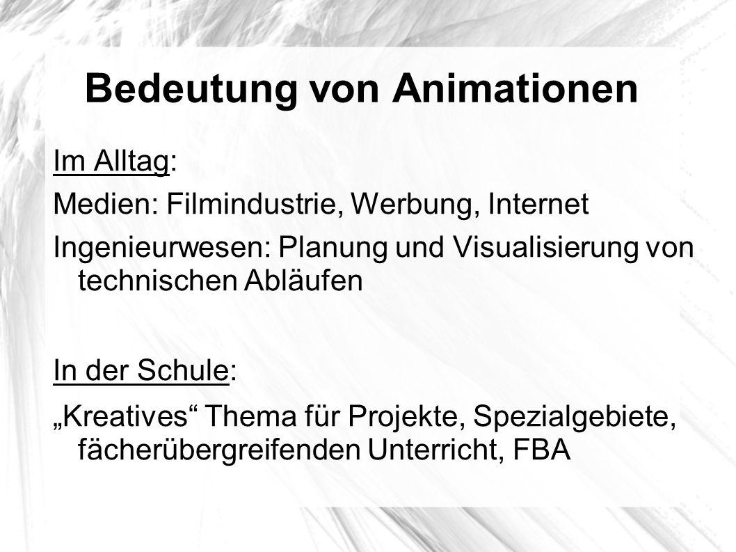 Bedeutung von Animationen Im Alltag: Medien: Filmindustrie, Werbung, Internet Ingenieurwesen: Planung und Visualisierung von technischen Abläufen In d