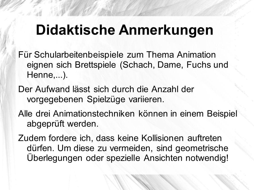 Didaktische Anmerkungen Für Schularbeitenbeispiele zum Thema Animation eignen sich Brettspiele (Schach, Dame, Fuchs und Henne,...). Der Aufwand lässt