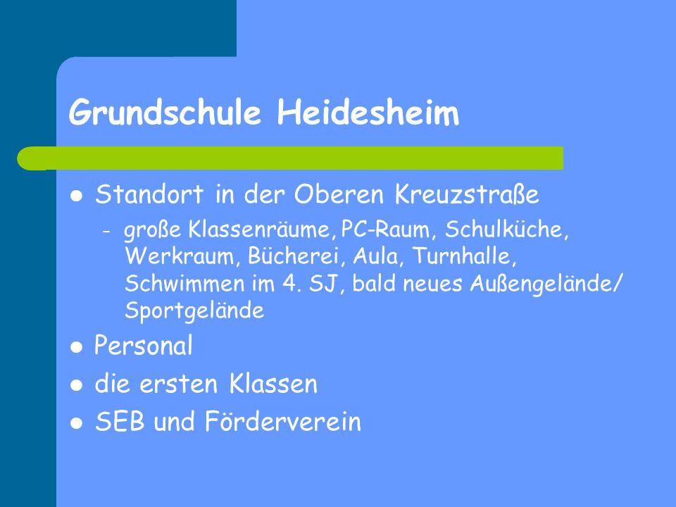 Grundschule Heidesheim Standort in der Oberen Kreuzstraße – große Klassenräume, PC-Raum, Schulküche, Werkraum, Bücherei, Aula, Turnhalle, Schwimmen im
