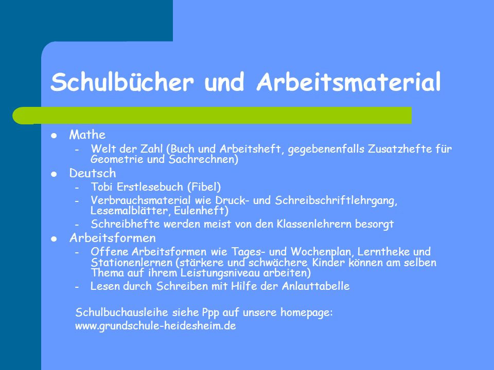 Schulbücher und Arbeitsmaterial Mathe – Welt der Zahl (Buch und Arbeitsheft, gegebenenfalls Zusatzhefte für Geometrie und Sachrechnen) Deutsch – Tobi