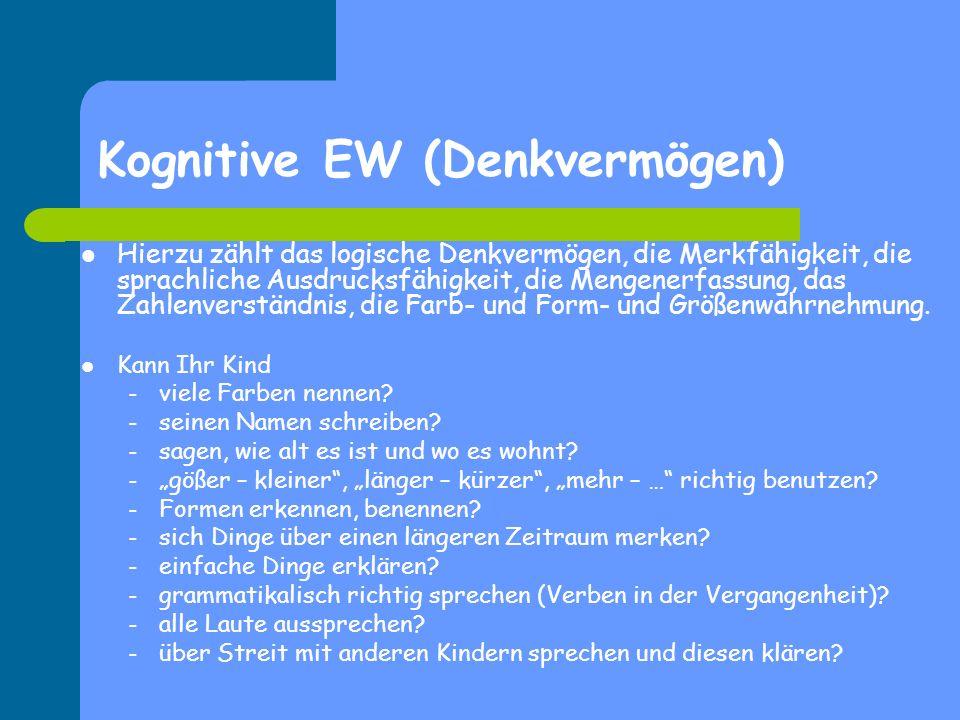 Kognitive EW (Denkvermögen) Hierzu zählt das logische Denkvermögen, die Merkfähigkeit, die sprachliche Ausdrucksfähigkeit, die Mengenerfassung, das Za