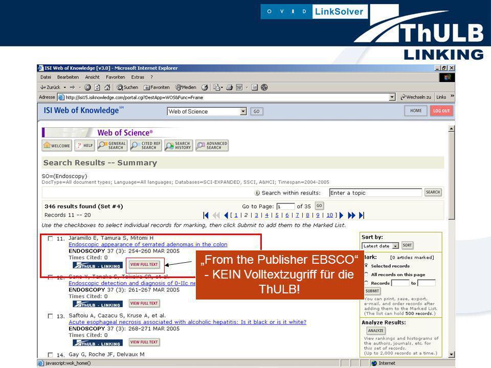 From the Publisher EBSCO - KEIN Volltextzugriff für die ThULB!
