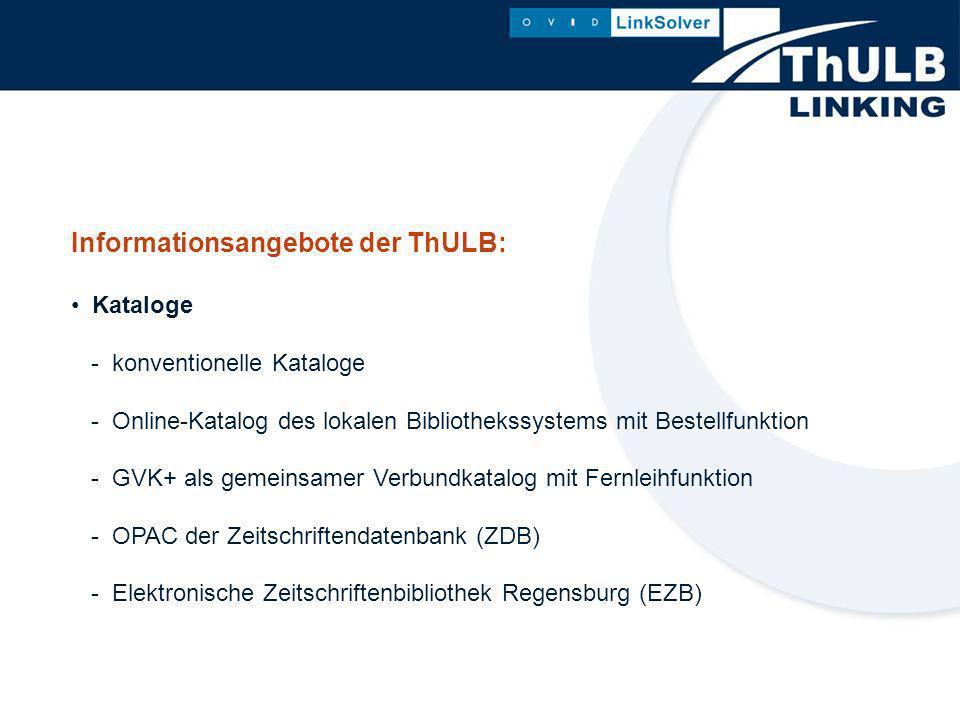 Informationsangebote der ThULB: Fachdatenbanken - unterschiedlichster Anbieter - verschiedener Oberflächen - unterschiedlichster Publikationsformen (CD-ROM lokal und im Netz, Online-Datenbanken)