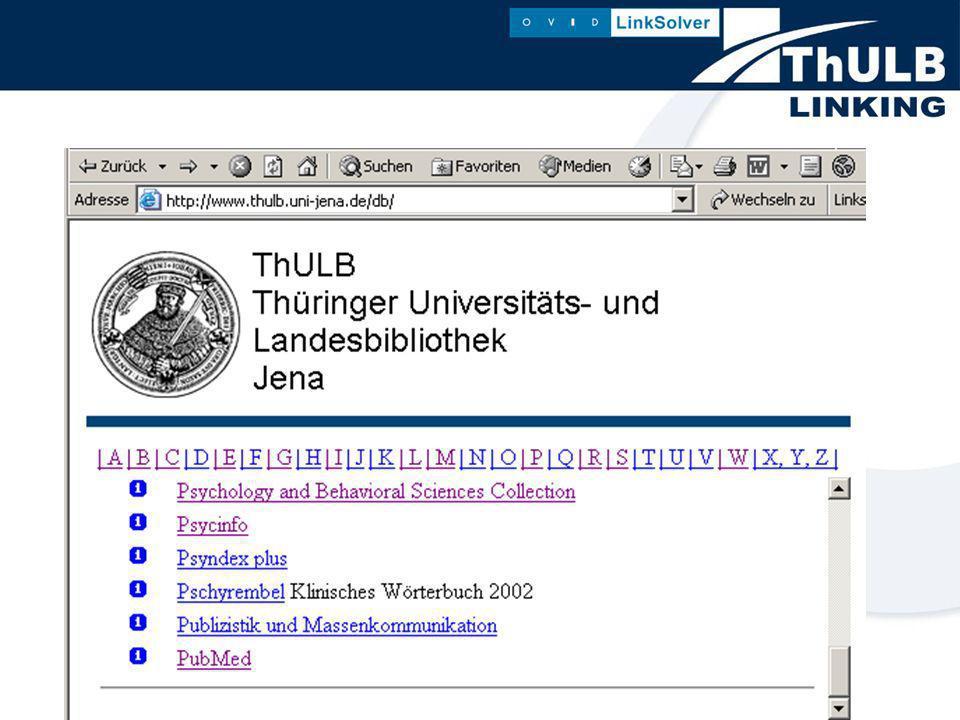 In welchen Datenbanken ist der Linksolver zur Zeit eingebunden: - EBSCO - GVK+ - MLA (Thomson/Gale) - Medline von Ovid - Datenbanken des K.G.