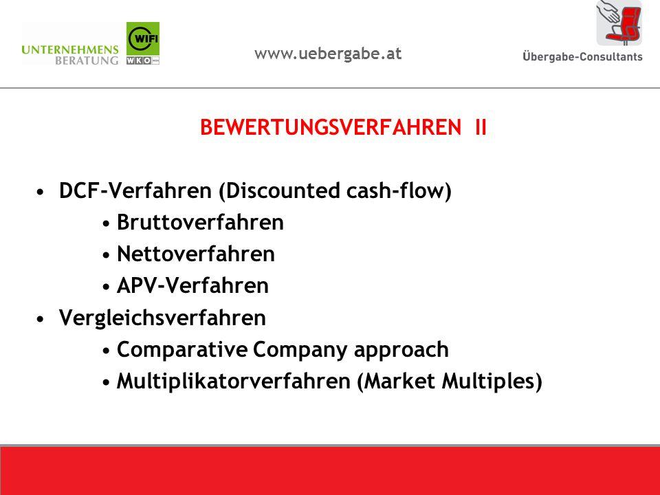 www.uebergabe.at BEWERTUNGSVERFAHREN II DCF-Verfahren (Discounted cash-flow) Bruttoverfahren Nettoverfahren APV-Verfahren Vergleichsverfahren Comparat