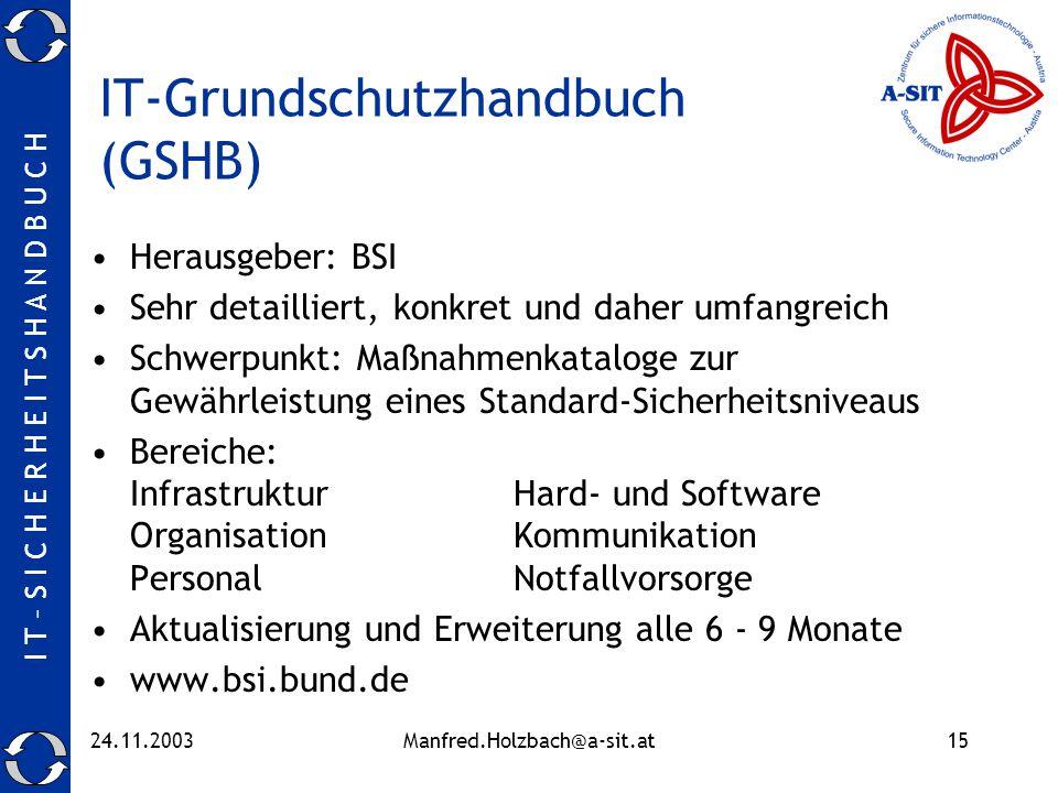 I T – S I C H E R H E I T S H A N D B U C H 24.11.2003Manfred.Holzbach@a-sit.at15 IT-Grundschutzhandbuch (GSHB) Herausgeber: BSI Sehr detailliert, kon