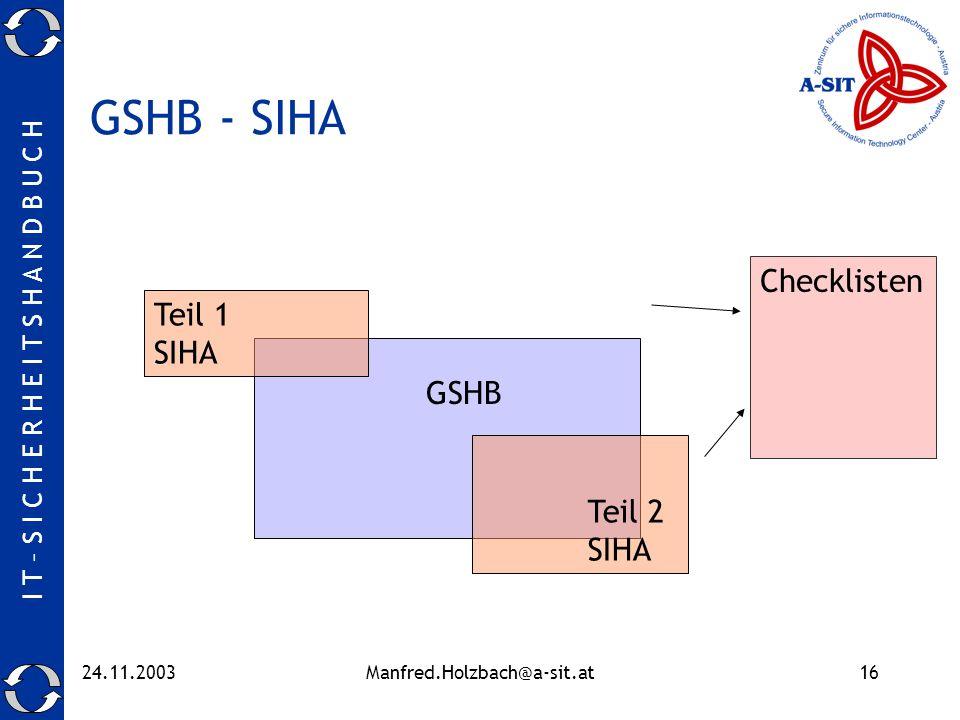 I T – S I C H E R H E I T S H A N D B U C H 24.11.2003Manfred.Holzbach@a-sit.at16 GSHB - SIHA Teil 2 SIHA GSHB Teil 1 SIHA Checklisten