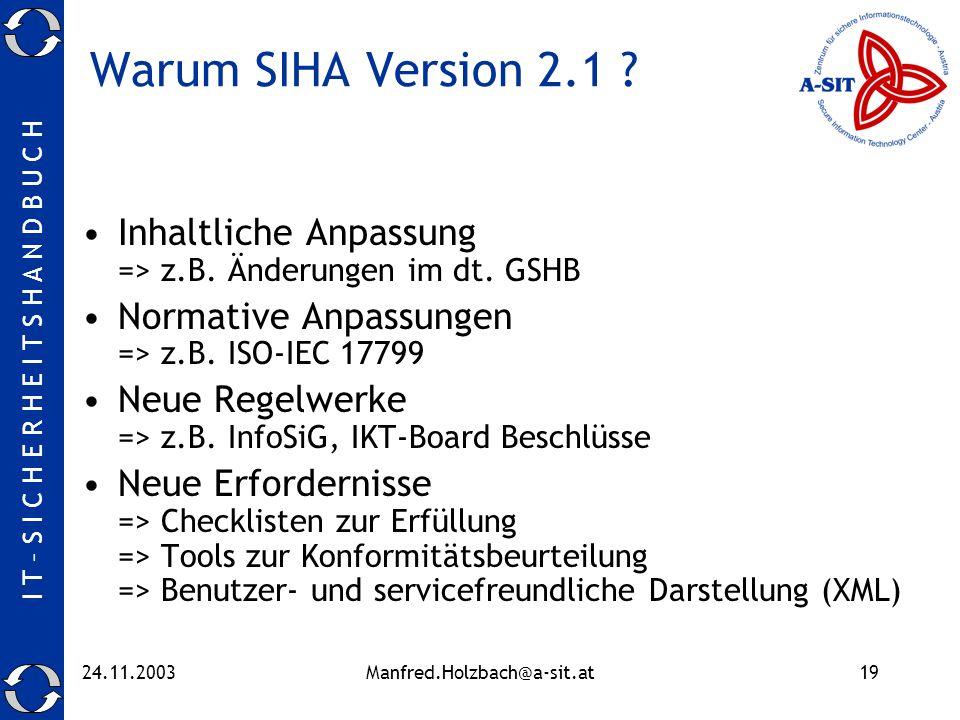 I T – S I C H E R H E I T S H A N D B U C H 24.11.2003Manfred.Holzbach@a-sit.at19 Warum SIHA Version 2.1 ? Inhaltliche Anpassung => z.B. Änderungen im