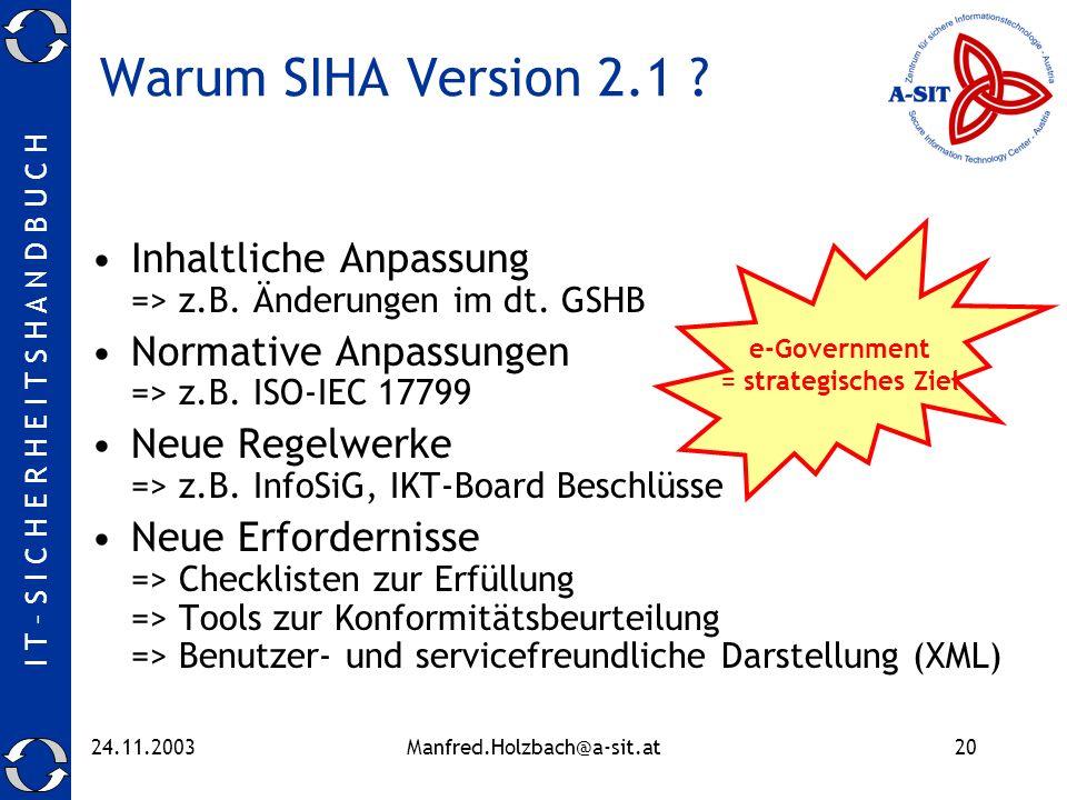 I T – S I C H E R H E I T S H A N D B U C H 24.11.2003Manfred.Holzbach@a-sit.at20 Warum SIHA Version 2.1 ? Inhaltliche Anpassung => z.B. Änderungen im