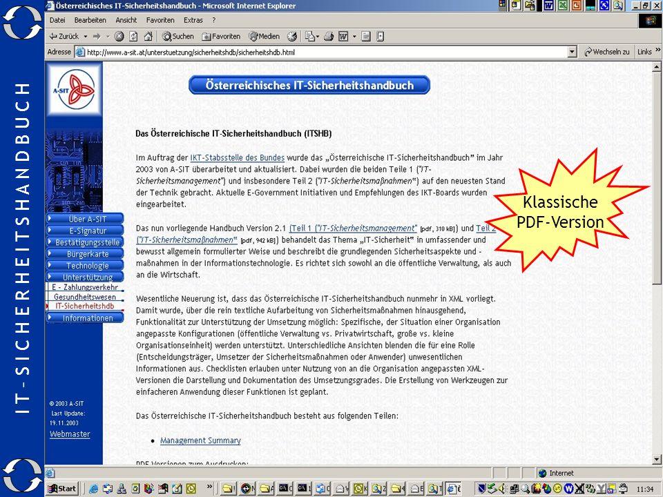 I T – S I C H E R H E I T S H A N D B U C H 24.11.2003Manfred.Holzbach@a-sit.at22 Wo gibt es das SIHA ? Klassische PDF-Version