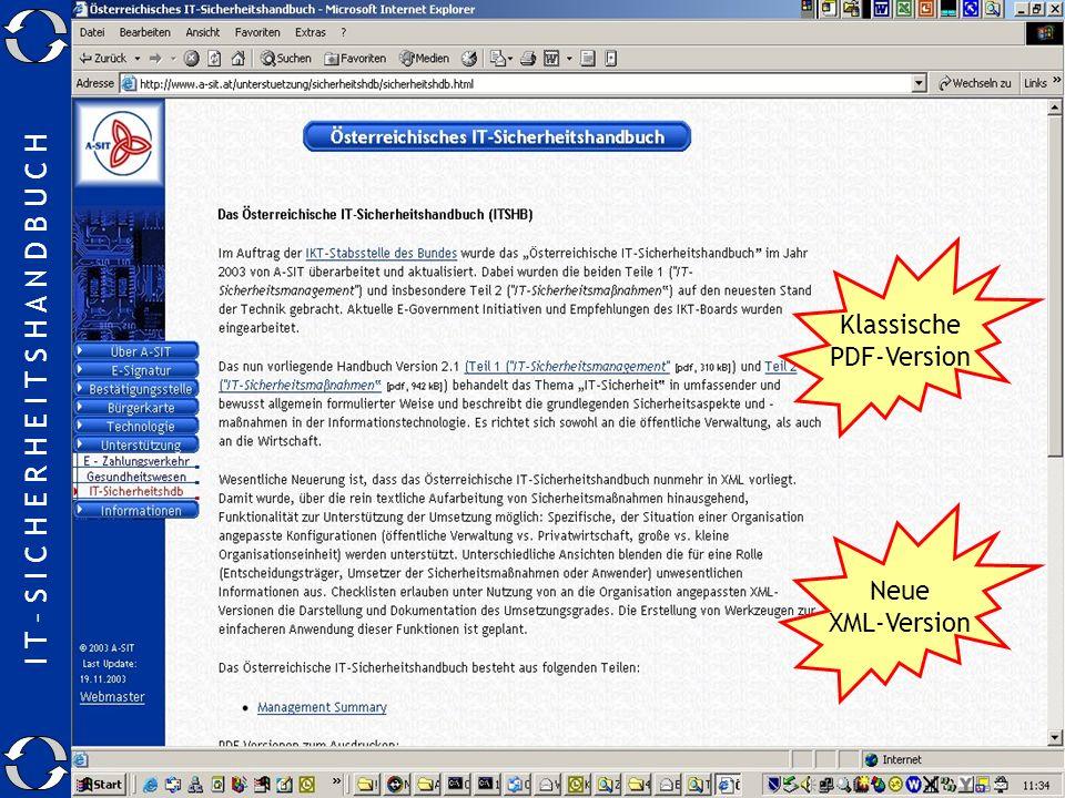 I T – S I C H E R H E I T S H A N D B U C H 24.11.2003Manfred.Holzbach@a-sit.at23 Wo gibt es das SIHA ? Klassische PDF-Version Neue XML-Version