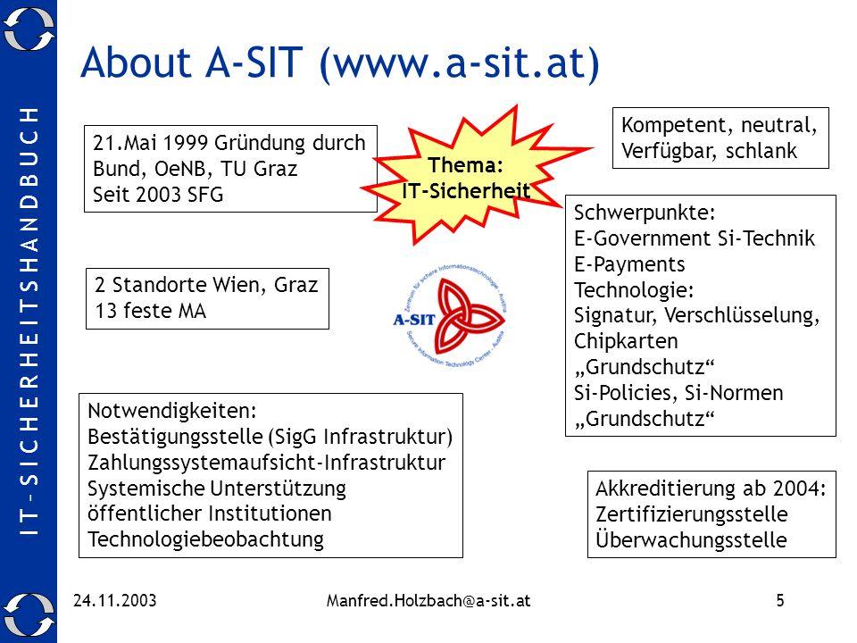 I T – S I C H E R H E I T S H A N D B U C H 24.11.2003Manfred.Holzbach@a-sit.at5 About A-SIT (www.a-sit.at) 21.Mai 1999 Gründung durch Bund, OeNB, TU
